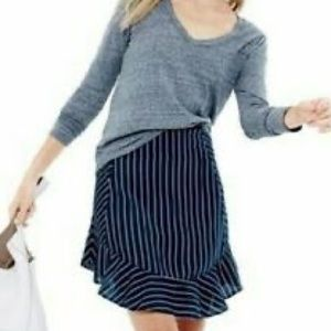 J. Crew Navy Pinstriped Swing Skirt